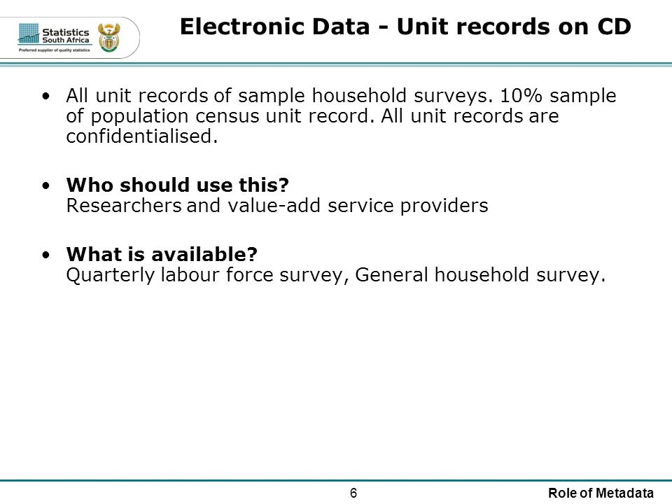 6Role of Metadata Electronic Data - Unit records on CD All unit records of sample household surveys.