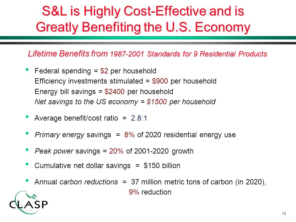 13 S&L is Highly Cost-Effective and is Greatly Benefiting the U.S.