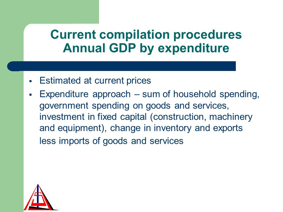 Current compilation procedures Annual GDP by expenditure Estimated at current prices Expenditure approach – sum of household spending, government spending on goods and services, investment in fixed capital (construction, machinery and equipment), change in inventory and exports less imports of goods and services