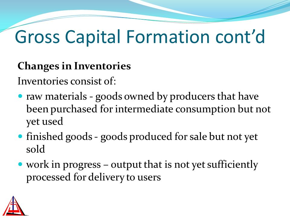 Gross Capital Formation contd Changes in Inventories Inventories consist of: raw materials - goods owned by producers that have been purchased for int
