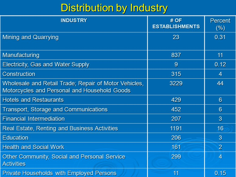 INDUSTRY # OF ESTABLISHMENTS Percent (%) Mining and Quarrying Manufacturing83711 Electricity, Gas and Water Supply Construction3154 Wholesale and Retail Trade; Repair of Motor Vehicles, Motorcycles and Personal and Household Goods Hotels and Restaurants 4296 Transport, Storage and Communications 4526 Financial Intermediation 2073 Real Estate, Renting and Business Activities Education2063 Health and Social Work 1612 Other Community, Social and Personal Service Activities 2994 Private Households with Employed Persons Distribution by Industry