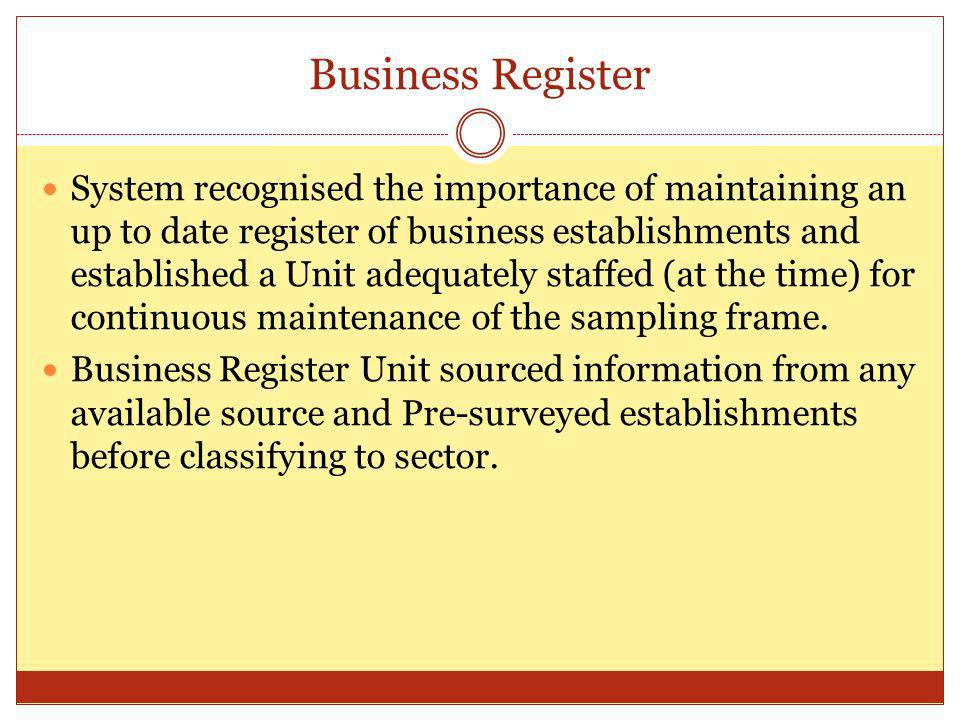 Business Register System recognised the importance of maintaining an up to date register of business establishments and established a Unit adequately staffed (at the time) for continuous maintenance of the sampling frame.