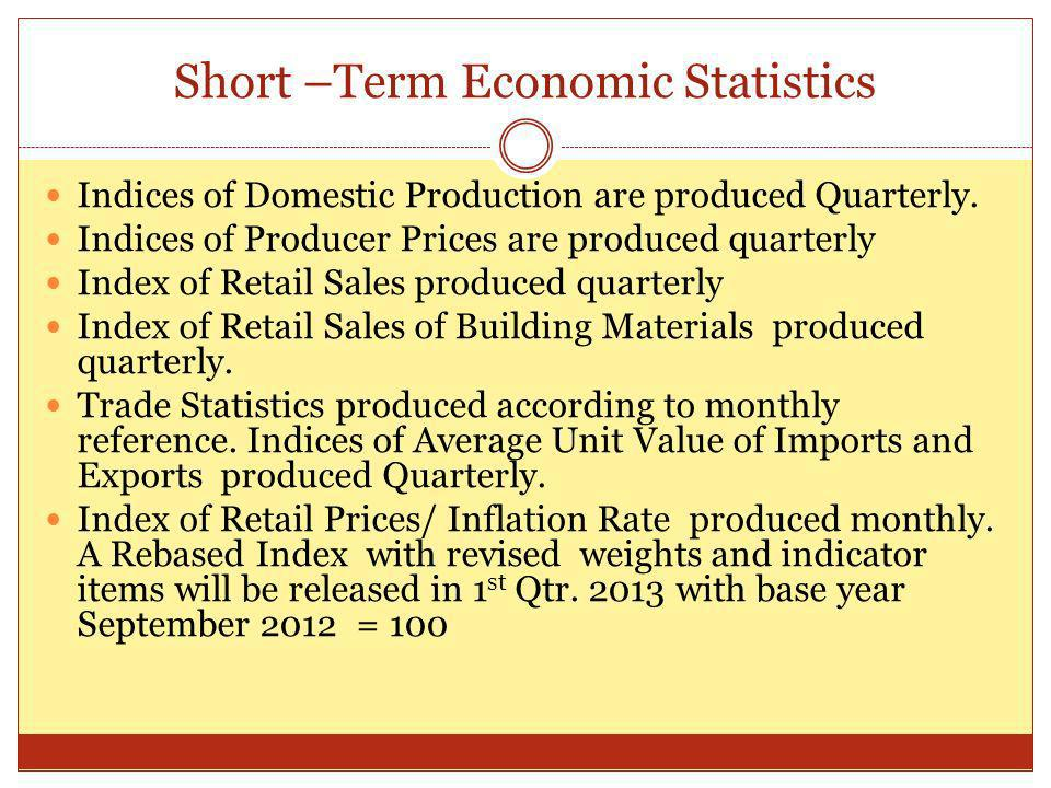 Short –Term Economic Statistics Indices of Domestic Production are produced Quarterly.