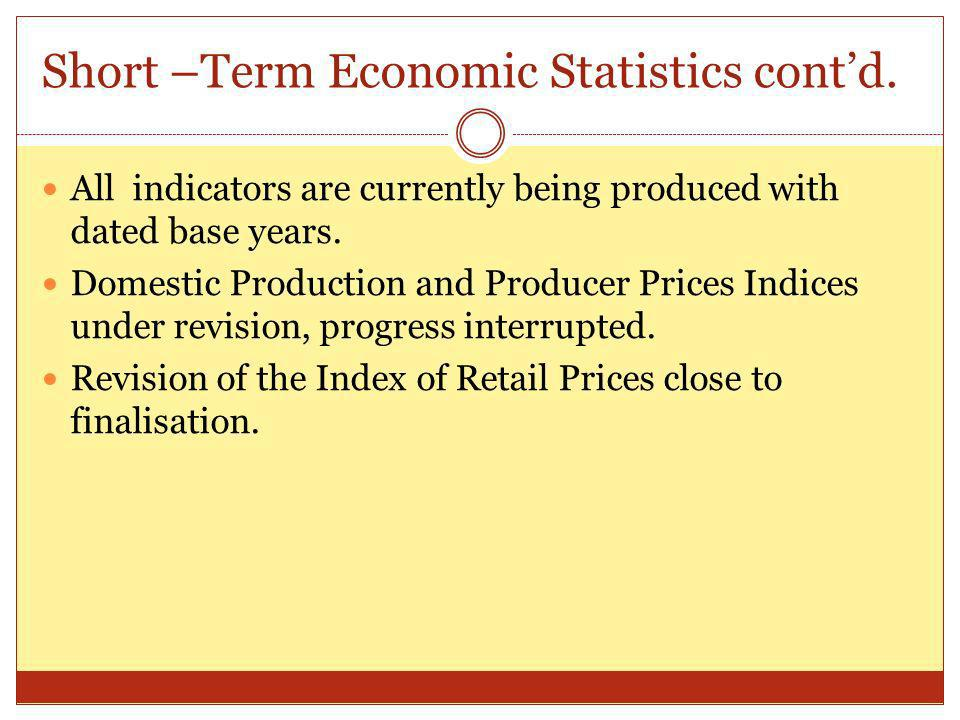Short –Term Economic Statistics contd.