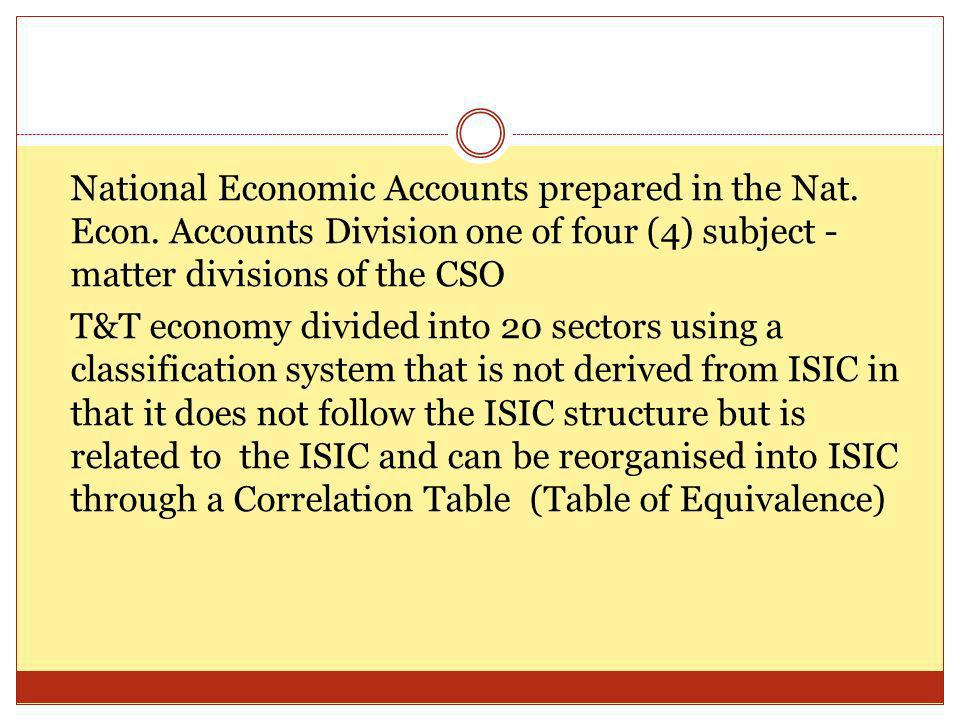 National Economic Accounts prepared in the Nat. Econ.