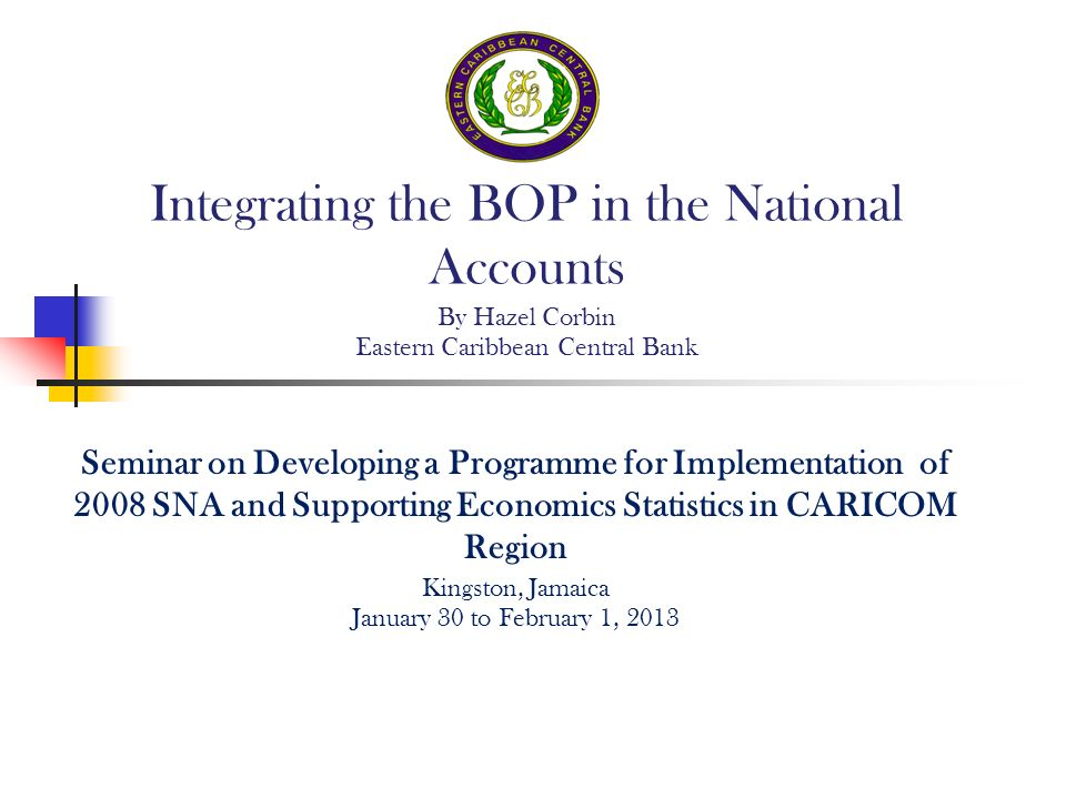 Seminar on Developing a Programme for Implementation of 2008 SNA and Supporting Economics Statistics in CARICOM Region Kingston, Jamaica January 30 to February 1, 2013 Integrating the BOP in the National Accounts By Hazel Corbin Eastern Caribbean Central Bank