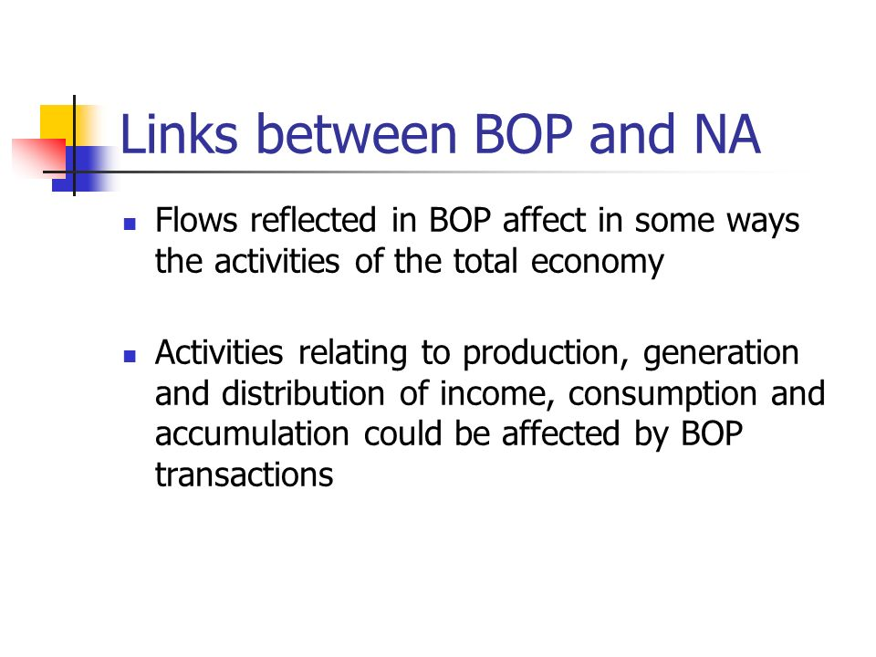 Links between BOP and NA The SNA coverage of exports of goods and services is identical to the BOP coverage In BOP, exports and imports of services ar