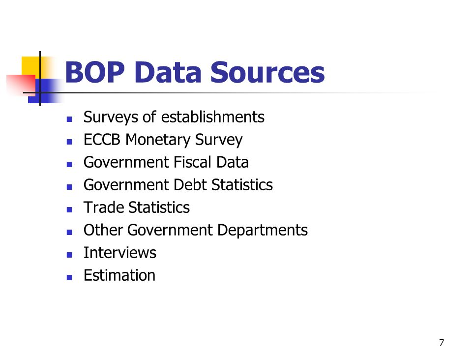 Categories of BOP: The BOP is comprised of two major categories of accounts: I.Current Account II.Capital and Financial Account The ECCB separates the Financing because it is easier to see for analysis purposes but Financing is actually part of the Financial Account of the Capital and Financial Account 6
