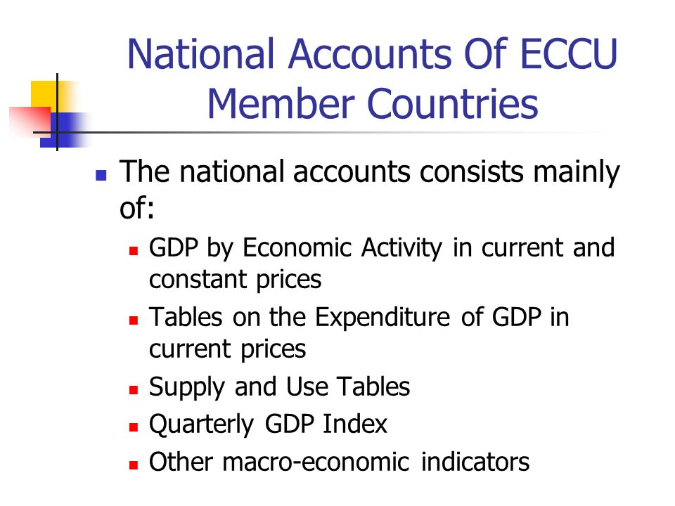 The national accounts consists mainly of: GDP by Economic Activity in current and constant prices Tables on the Expenditure of GDP in current prices Supply and Use Tables Quarterly GDP Index Other macro-economic indicators National Accounts Of ECCU Member Countries