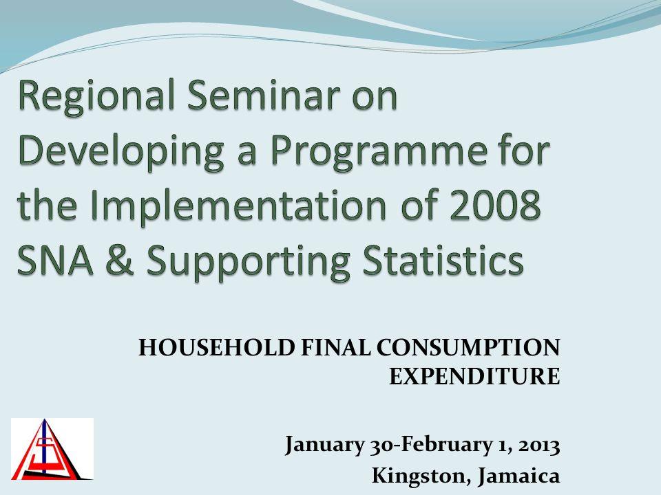 HOUSEHOLD FINAL CONSUMPTION EXPENDITURE January 30-February 1, 2013 Kingston, Jamaica