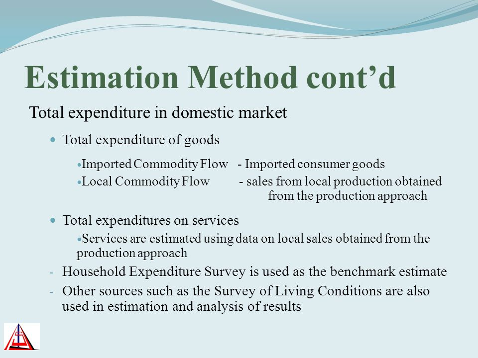 Estimation Method contd Total expenditure in domestic market Total expenditure of goods Imported Commodity Flow - Imported consumer goods Local Commod