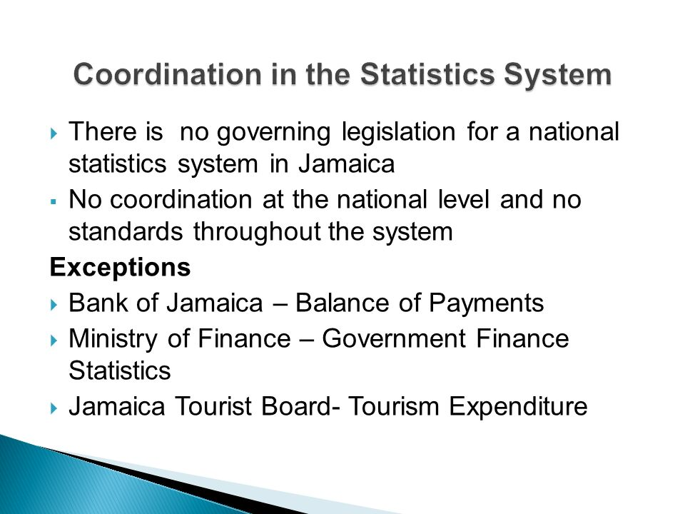 There is no governing legislation for a national statistics system in Jamaica No coordination at the national level and no standards throughout the system Exceptions Bank of Jamaica – Balance of Payments Ministry of Finance – Government Finance Statistics Jamaica Tourist Board- Tourism Expenditure
