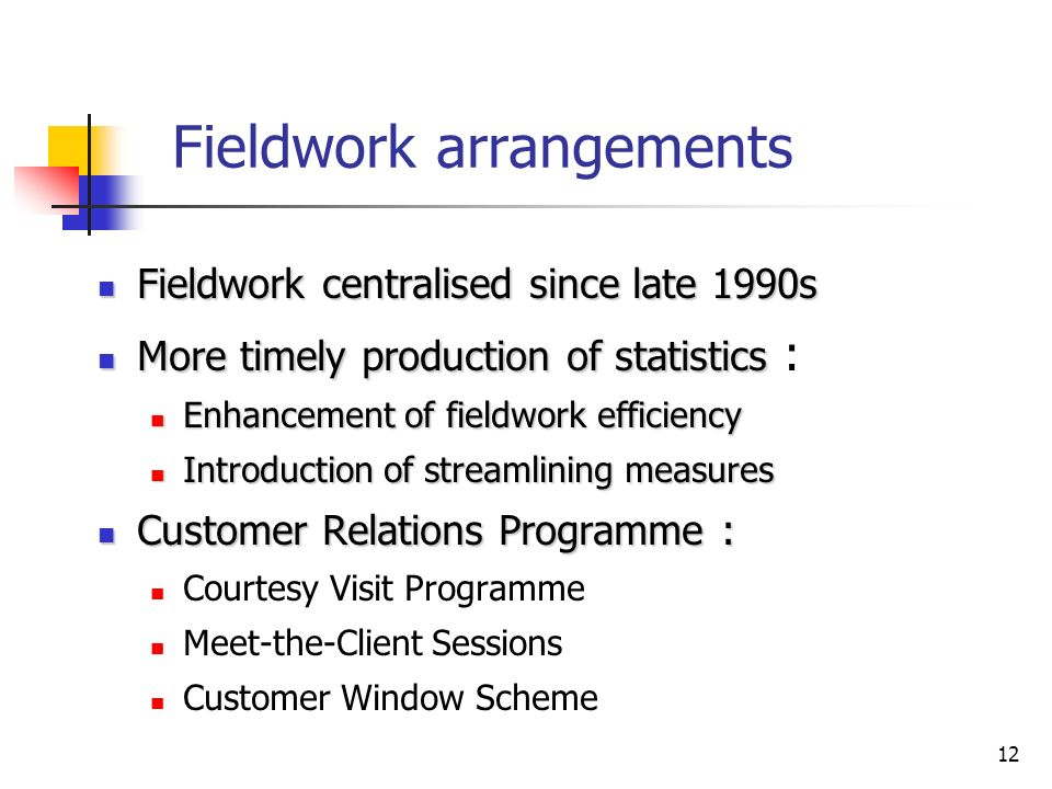 12 Fieldwork arrangements Fieldwork centralised since late 1990s Fieldwork centralised since late 1990s More timely production of statistics More timely production of statistics : Enhancement of fieldwork efficiency Enhancement of fieldwork efficiency Introduction of streamlining measures Introduction of streamlining measures Customer Relations Programme : Customer Relations Programme : Courtesy Visit Programme Meet-the-Client Sessions Customer Window Scheme