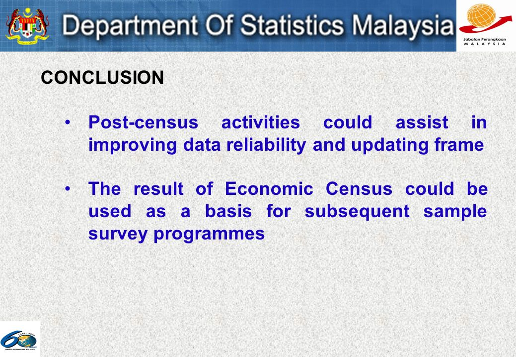 CONCLUSION Post-census activities could assist in improving data reliability and updating frame The result of Economic Census could be used as a basis for subsequent sample survey programmes