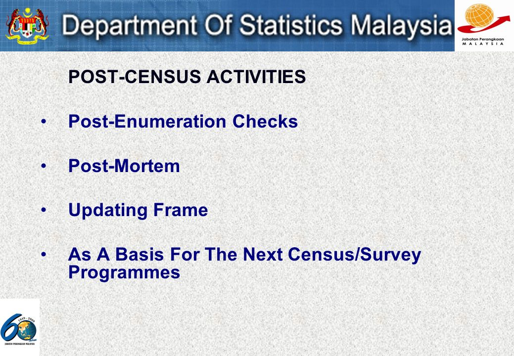POST-CENSUS ACTIVITIES Post-Enumeration Checks Post-Mortem Updating Frame As A Basis For The Next Census/Survey Programmes