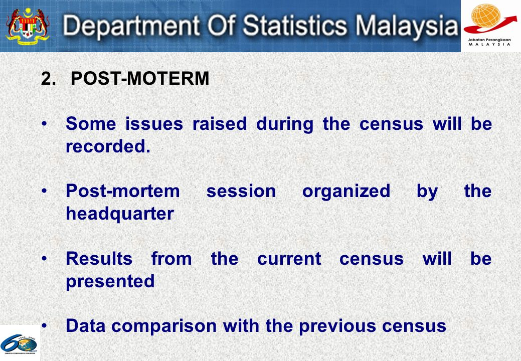 2. POST-MOTERM Some issues raised during the census will be recorded.