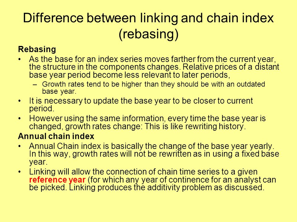 Difference between linking and chain index (rebasing) Rebasing As the base for an index series moves farther from the current year, the structure in the components changes.