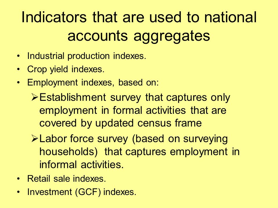 Indicators that are used to national accounts aggregates Industrial production indexes.