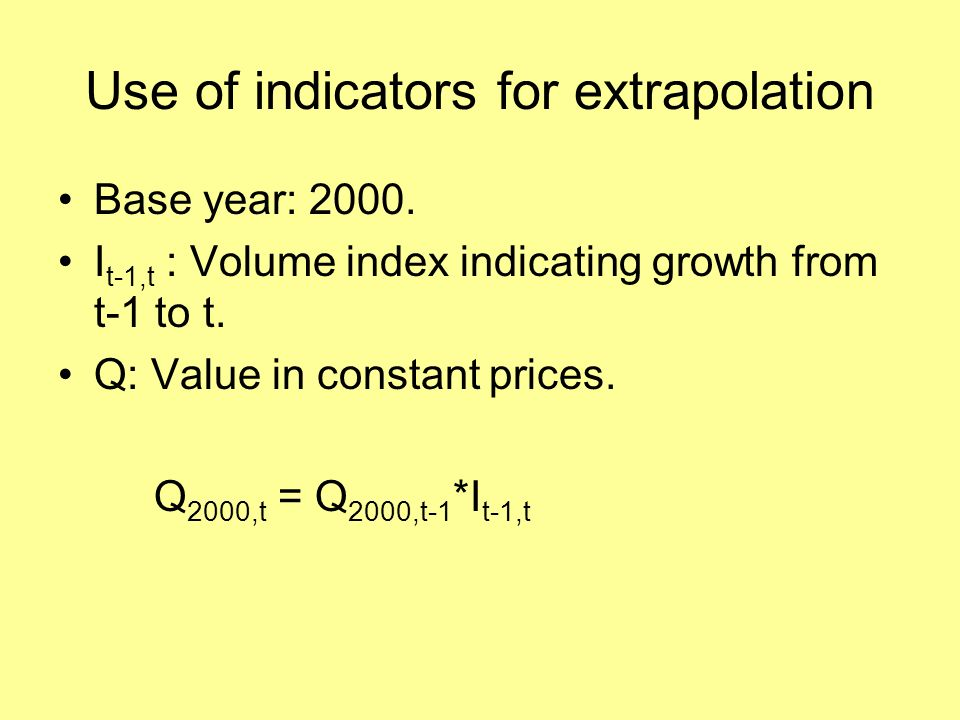 Use of indicators for extrapolation Base year: 2000.