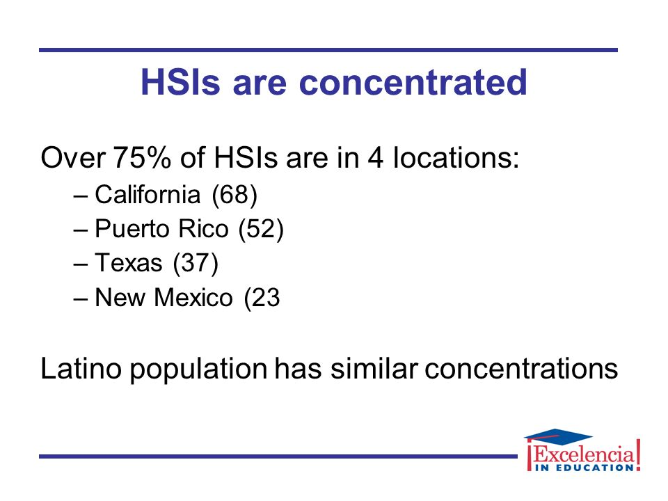 HSIs are concentrated Over 75% of HSIs are in 4 locations: –California (68) –Puerto Rico (52) –Texas (37) –New Mexico (23 Latino population has similar concentrations