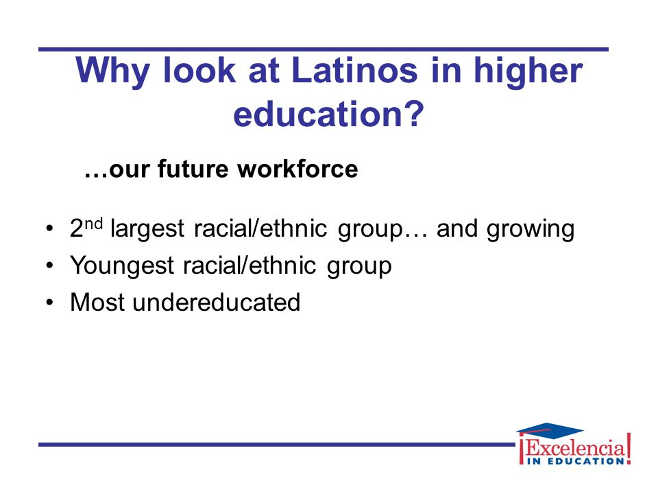 Why look at Latinos in higher education.