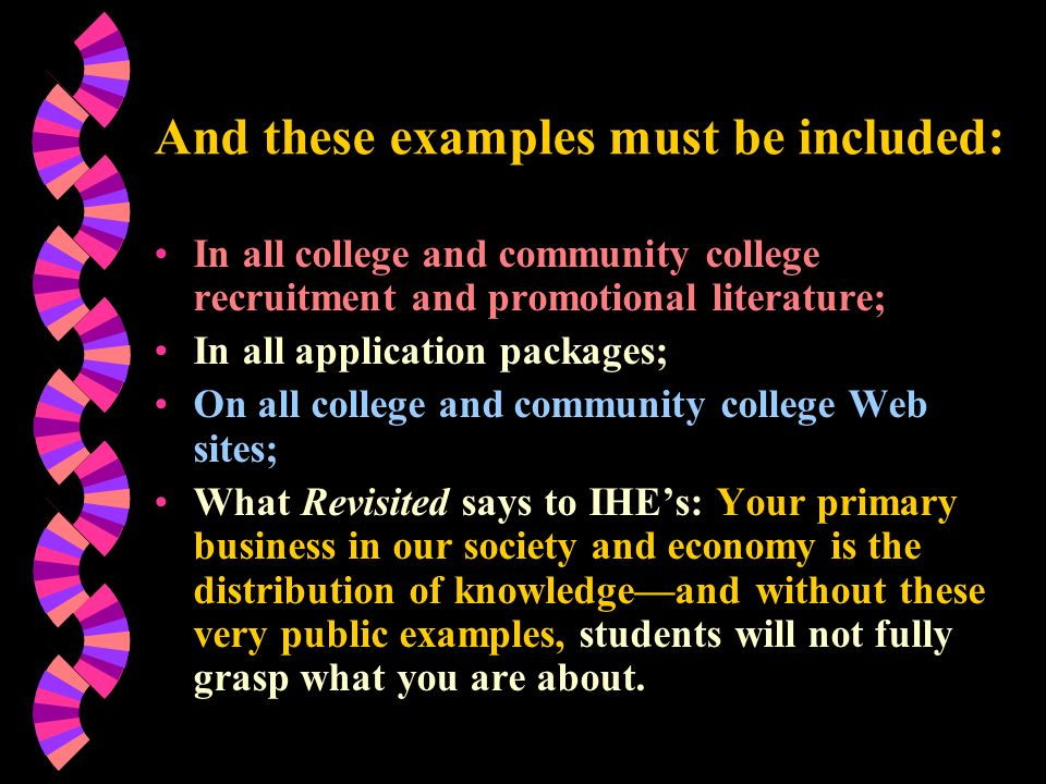 And these examples must be included: In all college and community college recruitment and promotional literature; In all application packages; On all