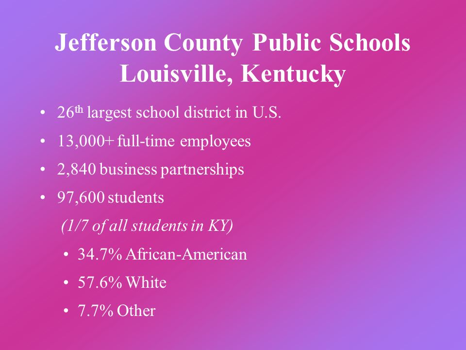 Jefferson County Public Schools Louisville, Kentucky 26 th largest school district in U.S. 13,000+ full-time employees 2,840 business partnerships 97,