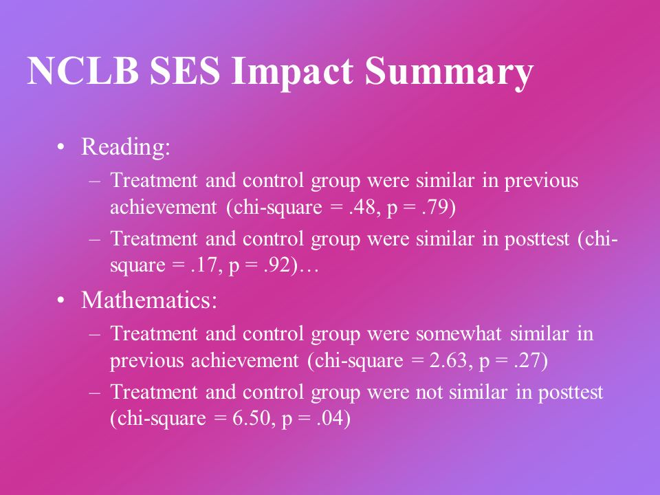 NCLB SES Impact Summary Reading: –Treatment and control group were similar in previous achievement (chi-square =.48, p =.79) –Treatment and control group were similar in posttest (chi- square =.17, p =.92)… Mathematics: –Treatment and control group were somewhat similar in previous achievement (chi-square = 2.63, p =.27) –Treatment and control group were not similar in posttest (chi-square = 6.50, p =.04)