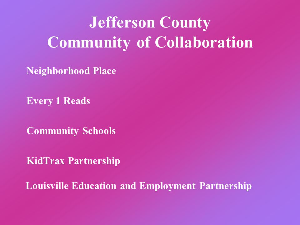 Jefferson County Community of Collaboration Neighborhood Place Every 1 Reads Community Schools KidTrax Partnership Louisville Education and Employment Partnership