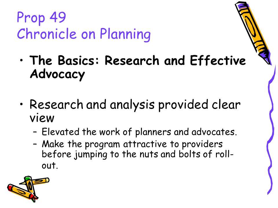 Prop 49 Implementation Legislative Reforms Grant vs.