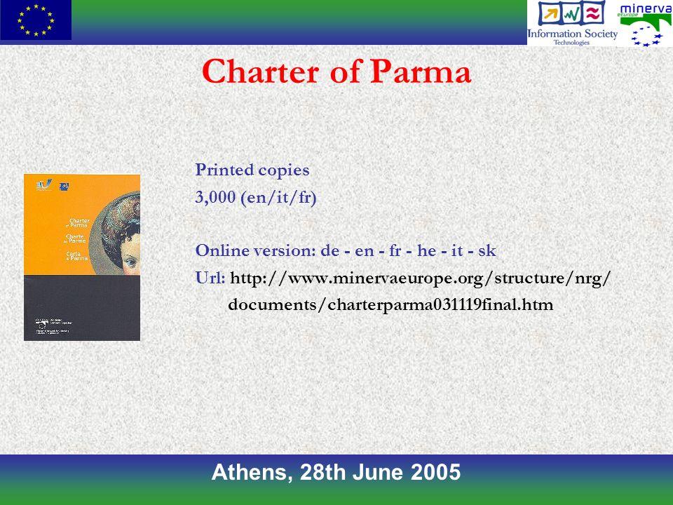 Athens, 28th June 2005 Charter of Parma Printed copies 3,000 (en/it/fr) Online version: de - en - fr - he - it - sk Url: http://www.minervaeurope.org/structure/nrg/ documents/charterparma031119final.htm