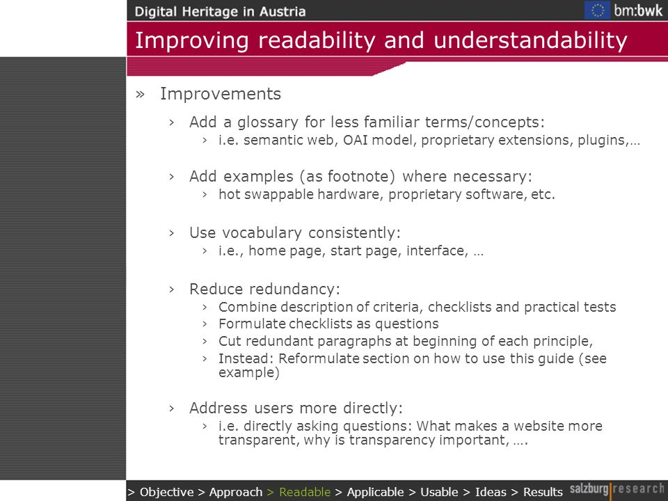 Improving readability and understandability »Improvements Add a glossary for less familiar terms/concepts: i.e.