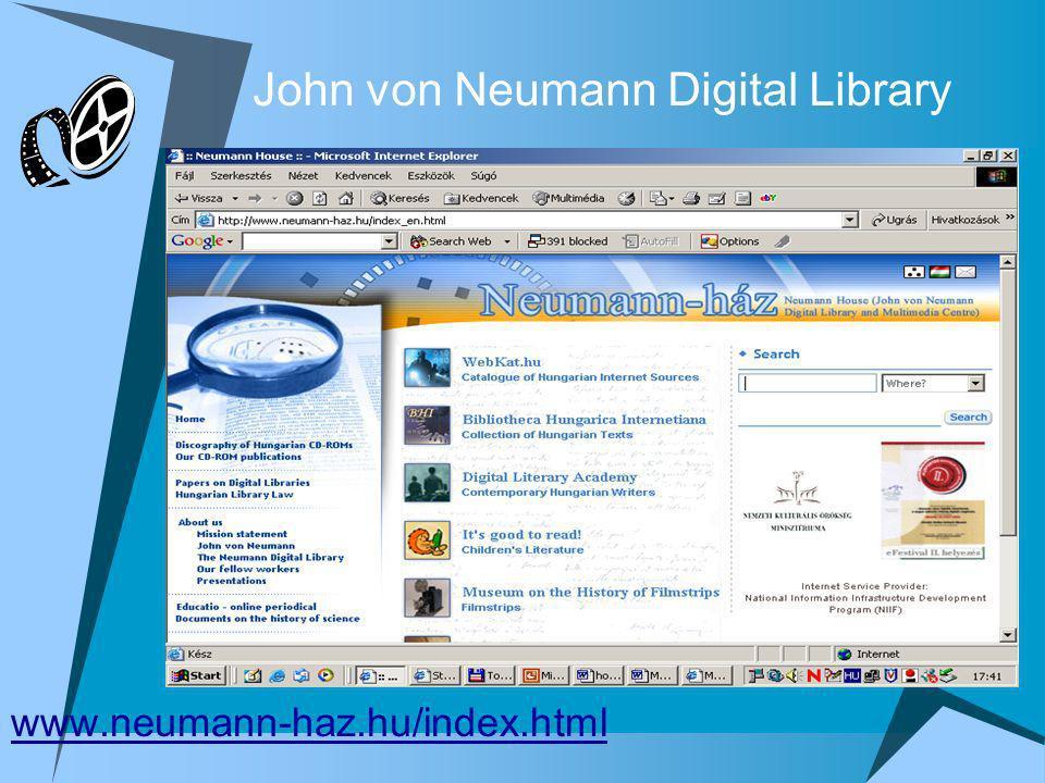 John von Neumann Digital Library www.neumann-haz.hu/index.html