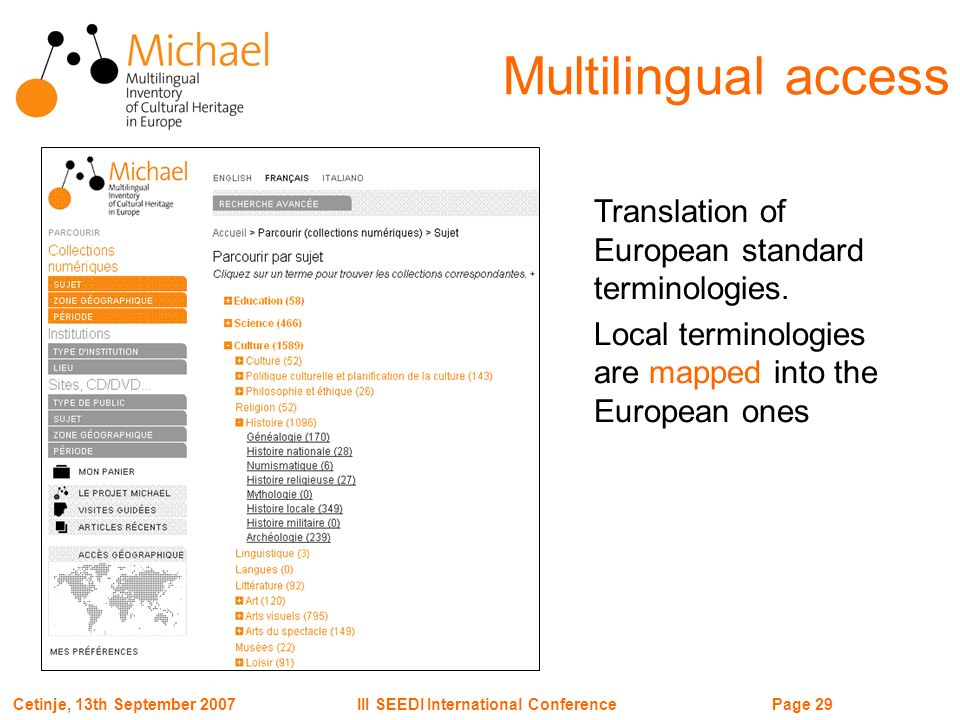 Page 29III SEEDI International ConferenceCetinje, 13th September 2007 Translation of European standard terminologies.