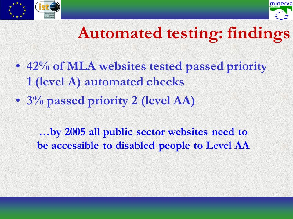 Automated testing: findings 42% of MLA websites tested passed priority 1 (level A) automated checks 3% passed priority 2 (level AA) …by 2005 all public sector websites need to be accessible to disabled people to Level AA