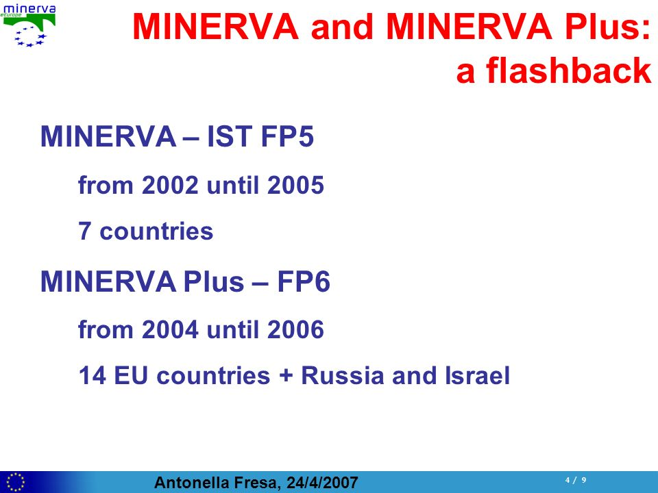 Antonella Fresa, 24/4/ / 9 MINERVA and MINERVA Plus: a flashback MINERVA – IST FP5 from 2002 until countries MINERVA Plus – FP6 from 2004 until EU countries + Russia and Israel