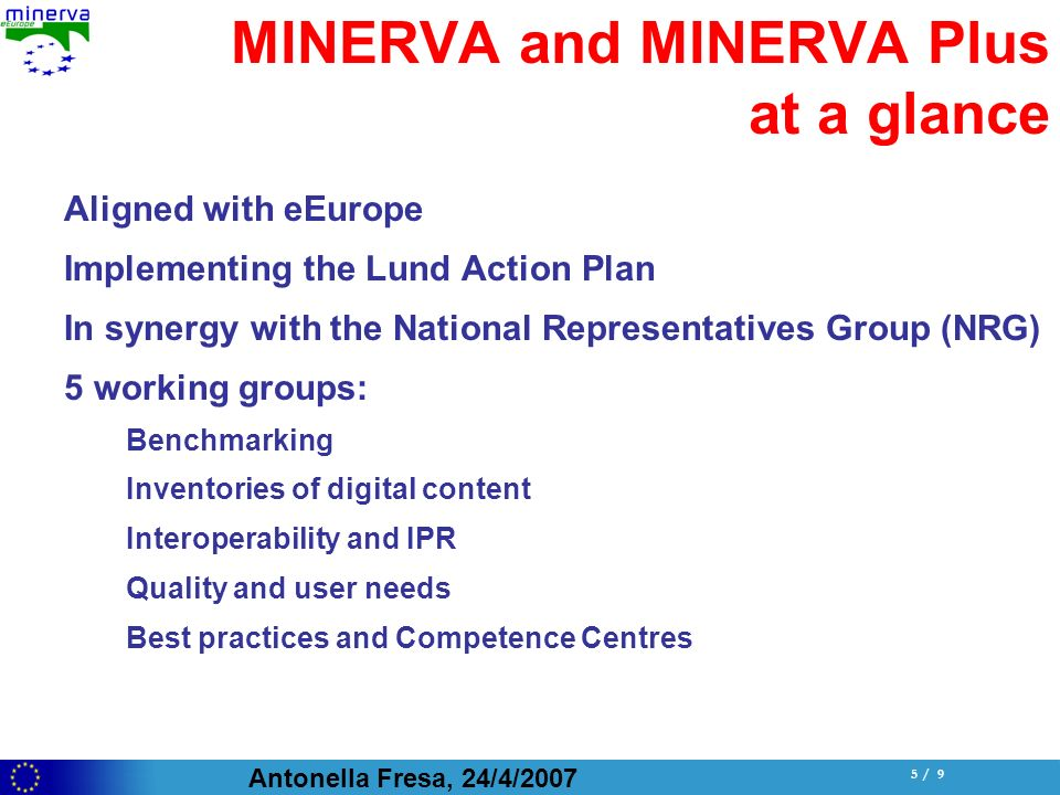 Antonella Fresa, 24/4/ / 9 MINERVA and MINERVA Plus at a glance Aligned with eEurope Implementing the Lund Action Plan In synergy with the National Representatives Group (NRG) 5 working groups: Benchmarking Inventories of digital content Interoperability and IPR Quality and user needs Best practices and Competence Centres