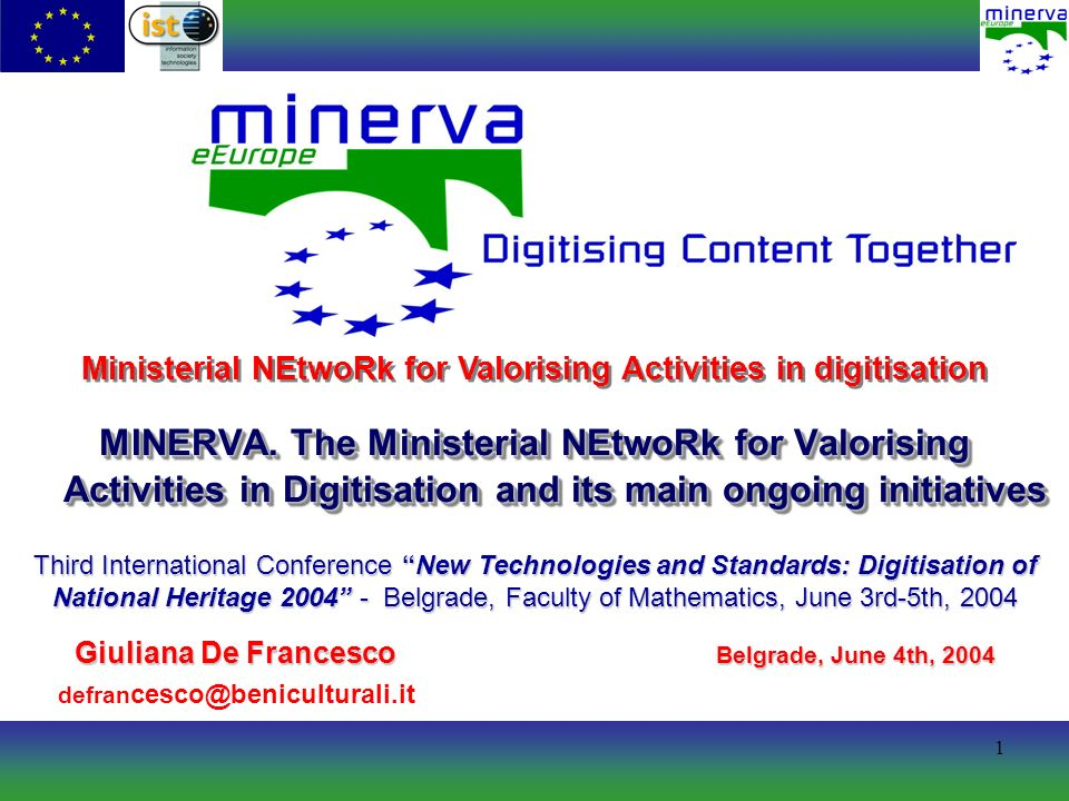 42 Availability www.minervaeurope.org/publications/techn icalguidelines.htm Technical Guidelines for Digital Cultural Content Creation Programmes.