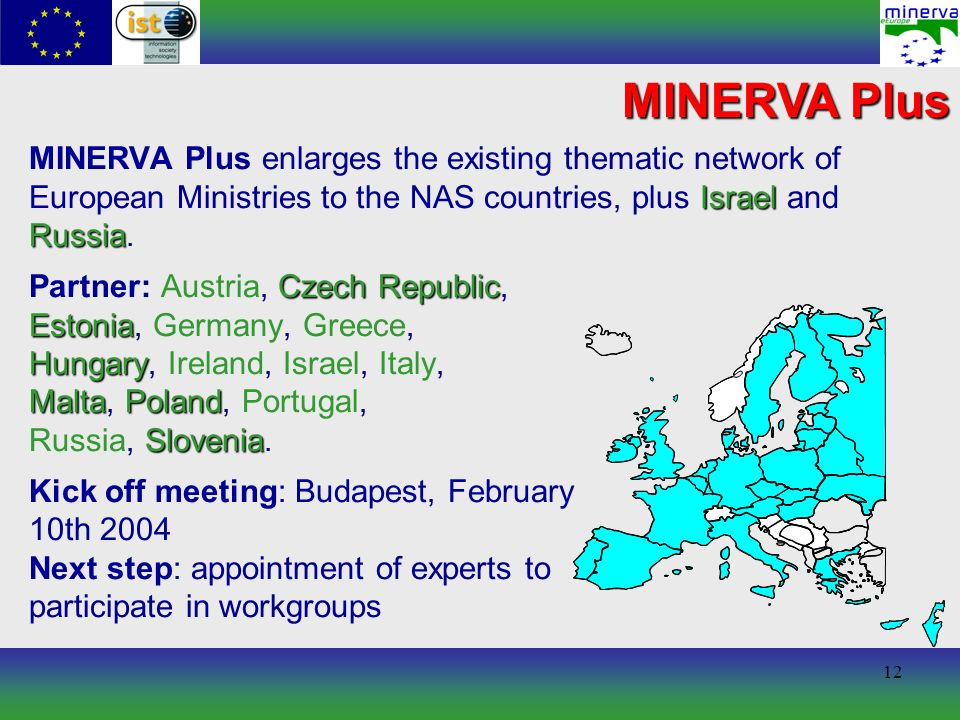 12 MINERVA Plus Israel Russia MINERVA Plus enlarges the existing thematic network of European Ministries to the NAS countries, plus Israel and Russia.