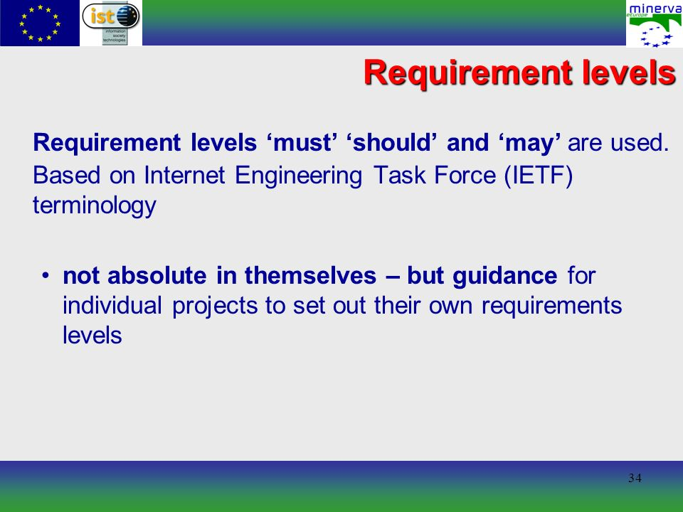 34 Requirement levels Requirement levels must should and may are used.