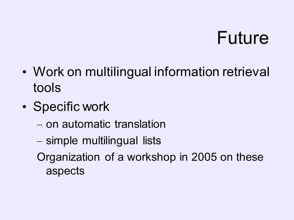 Future Work on multilingual information retrieval tools Specific work – on automatic translation – simple multilingual lists Organization of a worksho