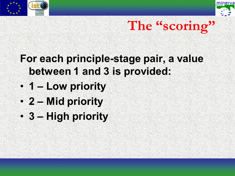 The scoring For each principle-stage pair, a value between 1 and 3 is provided: 1 – Low priority 2 – Mid priority 3 – High priority