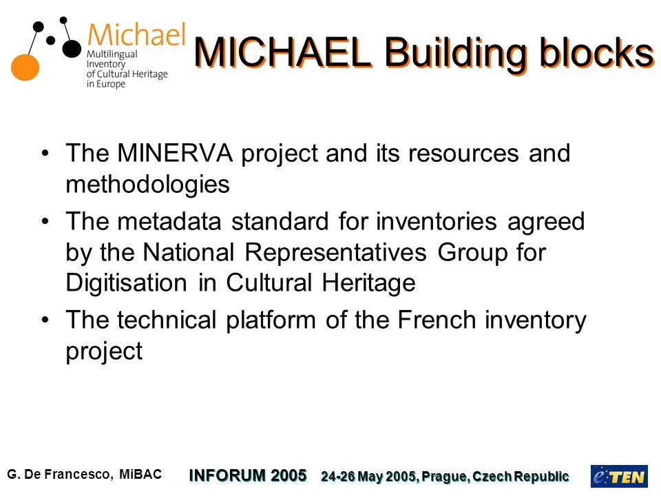 G. De Francesco, MiBAC INFORUM 2005 24-26 May 2005, Prague, Czech Republic MICHAEL Building blocks The MINERVA project and its resources and methodolo