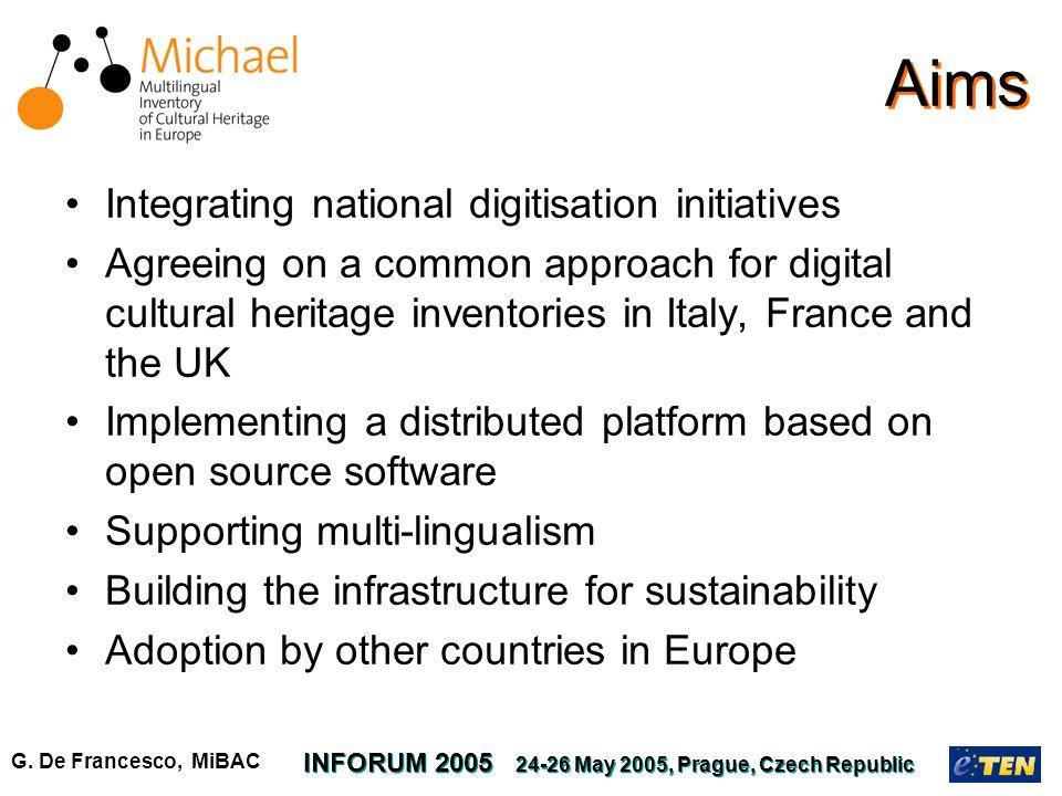 G. De Francesco, MiBAC INFORUM 2005 24-26 May 2005, Prague, Czech Republic Aims Integrating national digitisation initiatives Agreeing on a common app