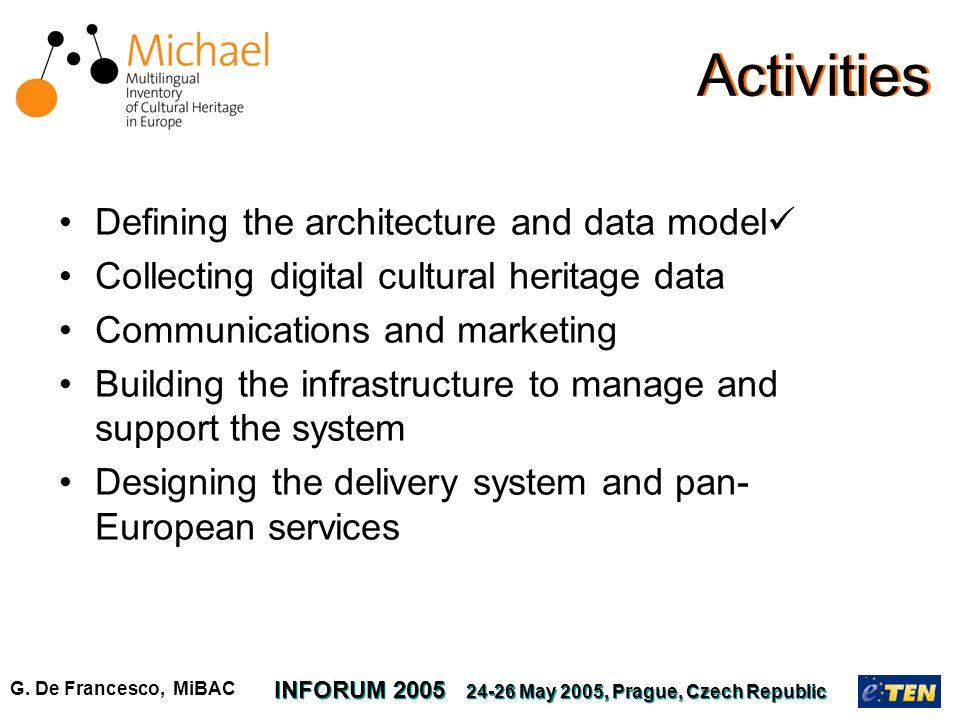G. De Francesco, MiBAC INFORUM 2005 24-26 May 2005, Prague, Czech Republic Activities Defining the architecture and data model Collecting digital cult