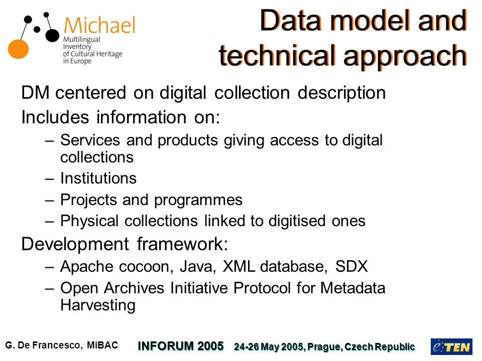 G. De Francesco, MiBAC INFORUM 2005 24-26 May 2005, Prague, Czech Republic DM centered on digital collection description Includes information on: –Ser
