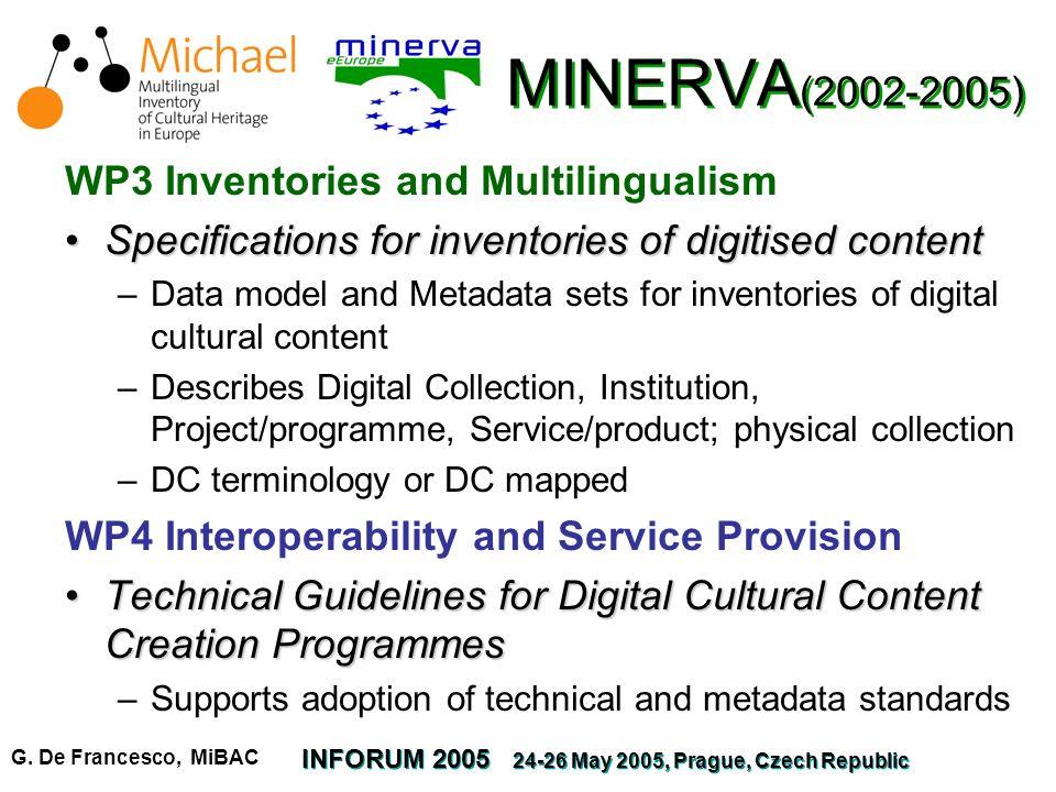 G. De Francesco, MiBAC INFORUM 2005 24-26 May 2005, Prague, Czech Republic MINERVA (2002-2005) WP3 Inventories and Multilingualism Specifications for