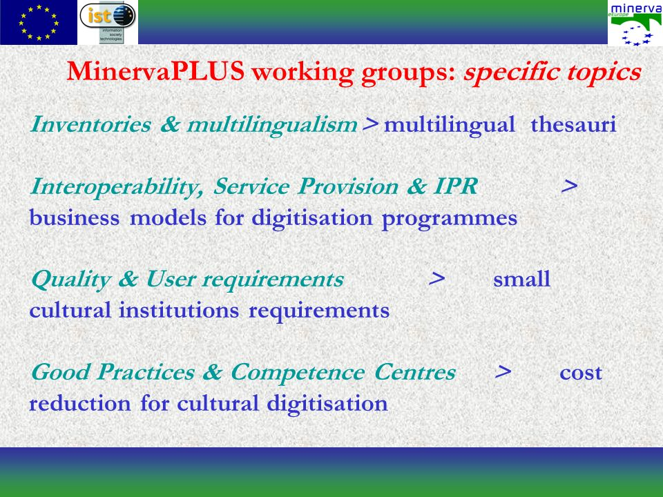 MinervaPLUS working groups: specific topics Inventories & multilingualism> multilingual thesauri Interoperability, Service Provision & IPR> business models for digitisation programmes Quality & User requirements>small cultural institutions requirements Good Practices & Competence Centres>cost reduction for cultural digitisation