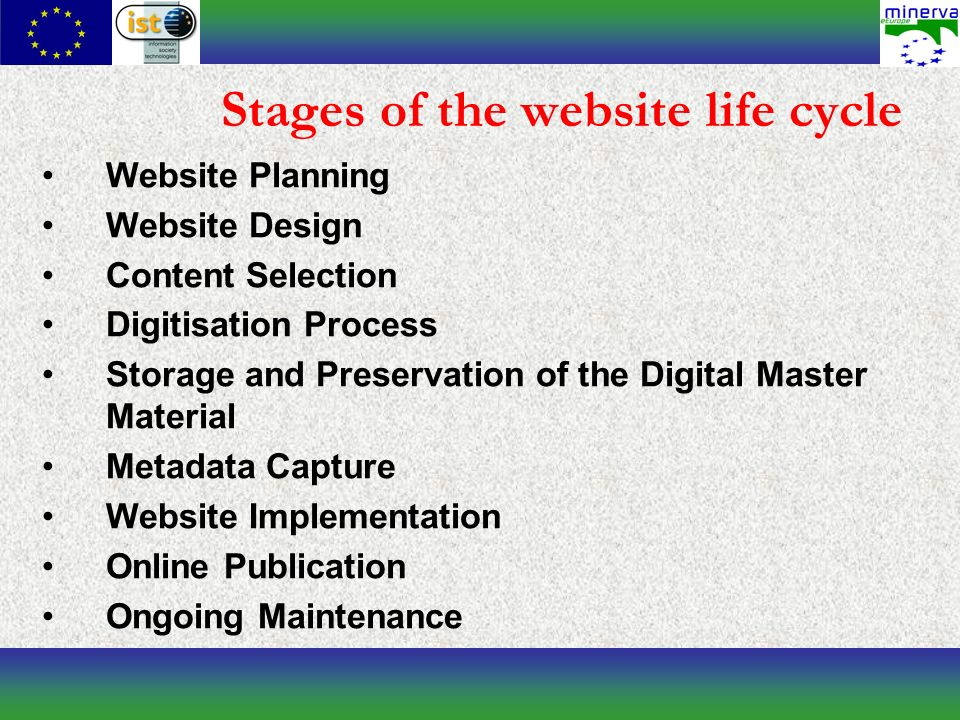 Stages of the website life cycle Website Planning Website Design Content Selection Digitisation Process Storage and Preservation of the Digital Master Material Metadata Capture Website Implementation Online Publication Ongoing Maintenance