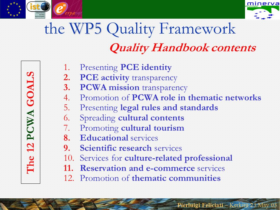 Pierluigi Feliciati – Kerkira 23 May 03 1.Presenting PCE identity 2.PCE activity transparency 3.PCWA mission transparency 4.Promotion of PCWA role in thematic networks 5.Presenting legal rules and standards 6.Spreading cultural contents 7.Promoting cultural tourism 8.Educational services 9.Scientific research services 10.Services for culture-related professional 11.Reservation and e-commerce services 12.Promotion of thematic communities WP5 the WP5 Quality Framework Quality Handbook contents The 12 PC WA GOALS